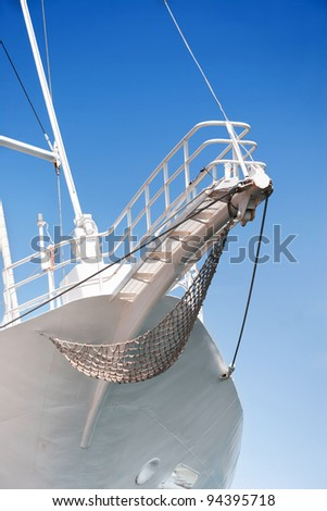 Prow of sailing boat - stock photo