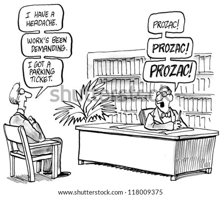 Prozac is the doctor's answer for everything. - stock photo