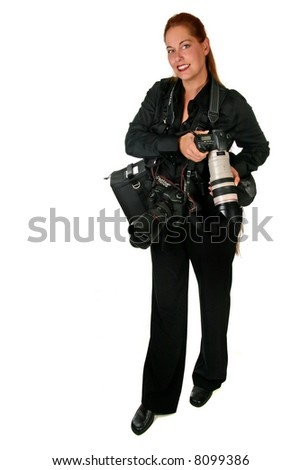 Prrofessional Photographer Wearing Her Gear on White Background