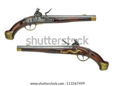 Prussian antique flintlock pistol - stock photo