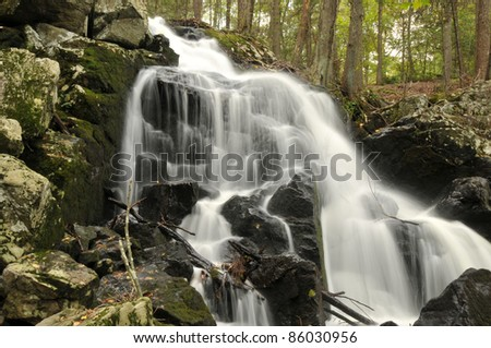 Prydden Brook Falls in Paugussett State Forest in Newtown, Connecticut - stock photo