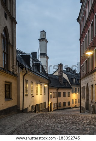 Pryssgr�¤nd. Old ally in Stockholm. - stock photo