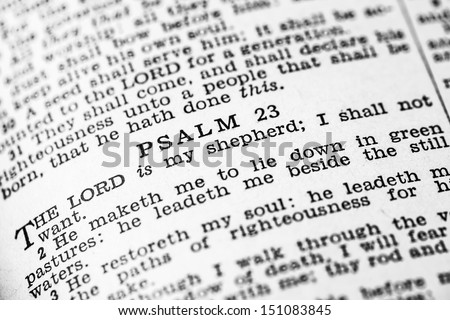Psalm 23 in the Holy Bible - stock photo