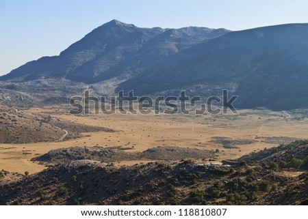Psiloritis mountain and the Nida plateau at Crete island in Greece