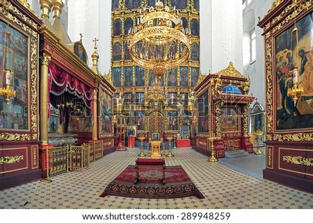 PSKOV, RUSSIA - JUNE 13, 2015: Interior of the Trinity Cathedral in the Pskov Kremlin. The current cathedral was built in 1682-1699 on the place of the first wooden Trinity Cathedral of 10th century. - stock photo