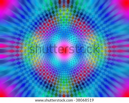 Psychedelic black light poster illustration with geometric spirals leading inward