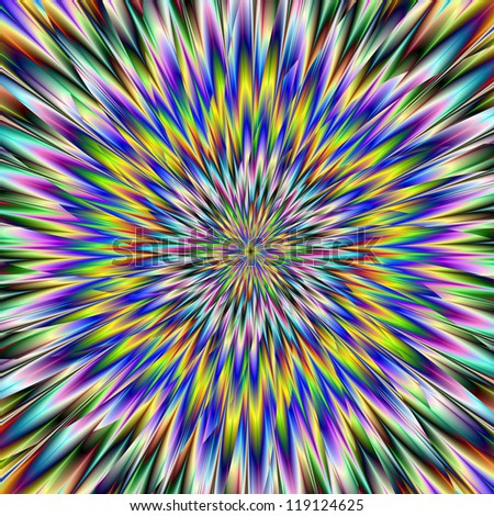 Psychedelic Crash/Digital abstract image with a broken psychedelic pattern in blue, green and yellow.