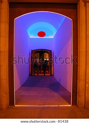 Psychedelic entry of a multicultural center in Barcelona, Spain. - stock photo