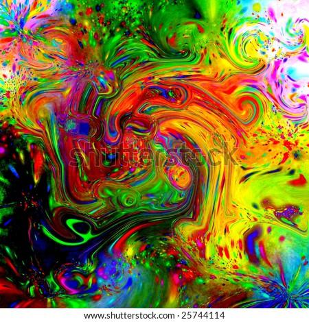 Psychedelic Fluid Tile - stock photo