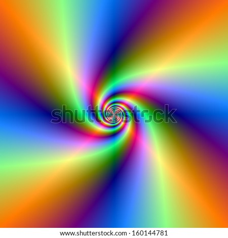 Psychedelic Four Wind Spiral / Digital abstract fractal image with a psychedelic spiral in blue, green, pink and orange. - stock photo