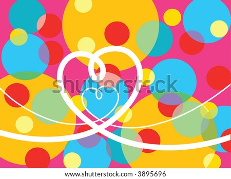psychedelic pop dots and loopy love (raster) - illustrated background - stock photo