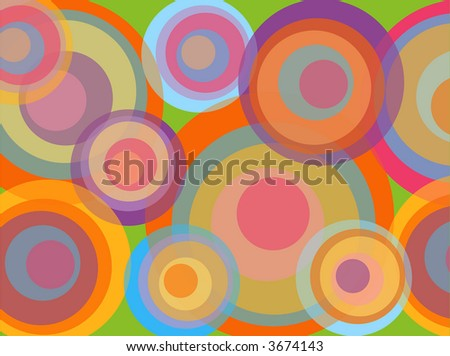 psychedelic pop rainbow circles (raster) - illustrated background - stock photo