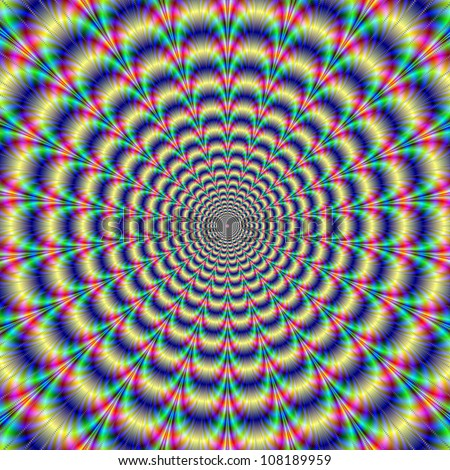 Psychedelic Pulse/Digital abstract image with a psychedelic circular pattern of blue red yellow green and purple producing an optical illusion of movement. - stock photo