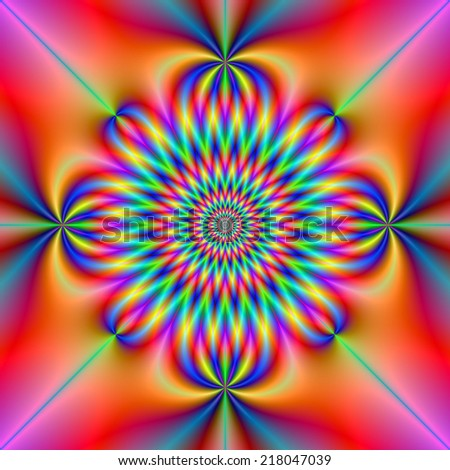 Psychedelic Rosette / A digital abstract fractal image with a psychedelic rosette design in blue, orange, violet, red and turquoise. - stock photo