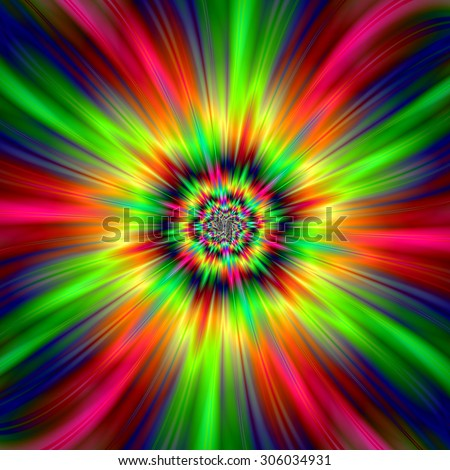 Psychedelic Star Burst / An abstract fractal image with a colorful star burst design in red, pink, yellow, green and blue. - stock photo