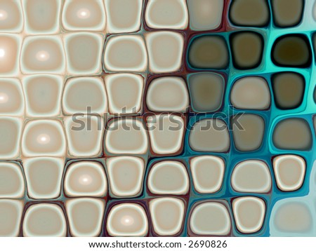 psychedelic wallpaper in cyan and beige - stock photo