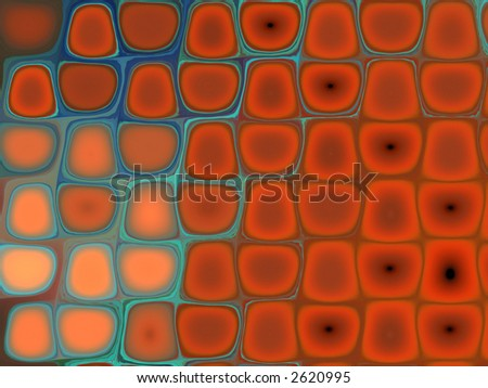 psychedelic wallpaper in cyan and red - stock photo
