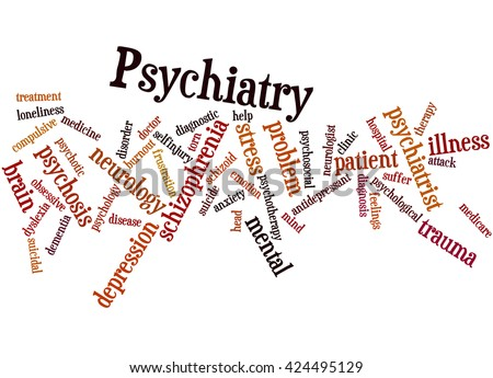 Psychiatry, word cloud concept on white background. - stock photo
