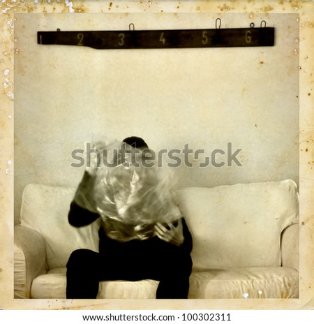Psychic medium with ectoplasm antique style photo composite. Spirit photography. - stock photo