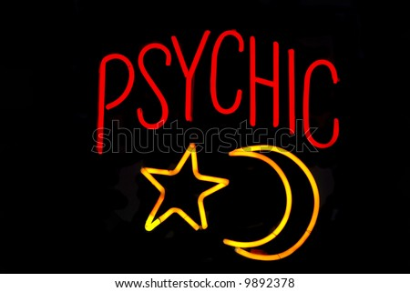 Psychic neon sign with moon and star - stock photo