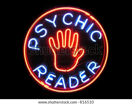 Psychic Reader neon sign - stock photo