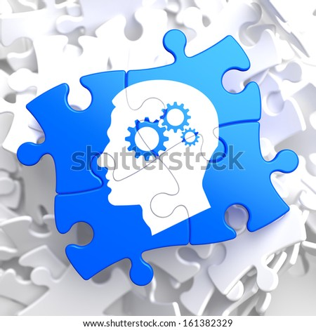 Psychological Concept - Profile of Head with Cogwheel Gear Mechanism Located on Blue Puzzle. - stock photo