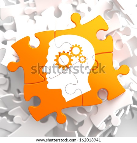Psychological Concept - Profile of Head with Cogwheel Gear Mechanism Located on Orange Puzzle. - stock photo