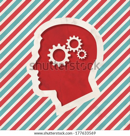 Psychological Concept - Profile of Head with Cogwheel Gear Mechanism - on Red and Blue Striped Background. Vintage Concept in Flat Design. - stock photo