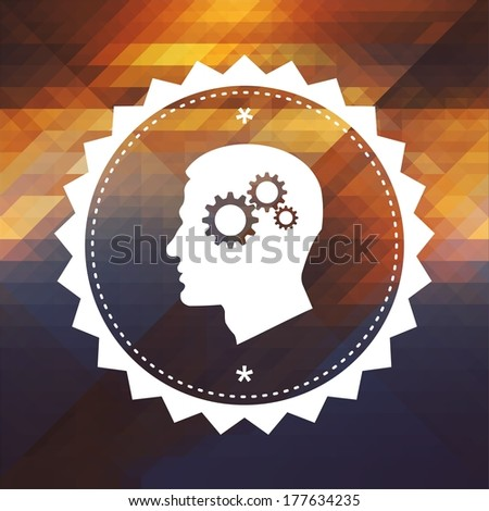 Psychological Concept - Profile of Head with Cogwheel Gear Mechanism. Retro label design. Hipster background made of triangles, color flow effect. - stock photo