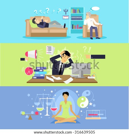Psychological human mental balance. Psychologist and stressfull condition state, mental emotion, psychology health, personality disorder, stress and depression feeling illustration. Raster version - stock photo