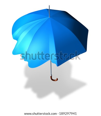 Psychological protection and antisocial personality disorder concept as an umbrella shaped as a human head as a metaphor and medical symbol for living a lonely sheltered life. - stock photo