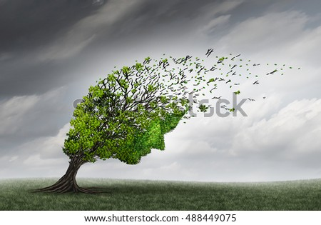 Psychological trouble and mental health adversity crisis as a tree shaped as a human head being torn or stressed by strong winds as a psychiatry or psychology icon with 3D illustration elements.