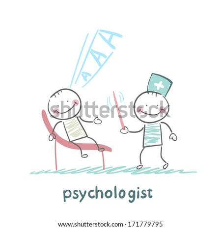 psychologist conducts a stick, and the patient screams - stock photo