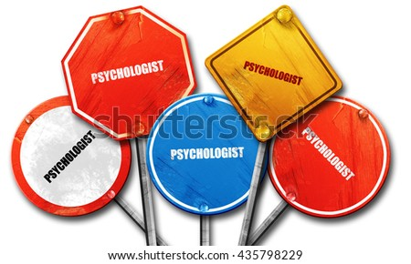 psychologist, 3D rendering, rough street sign collection - stock photo