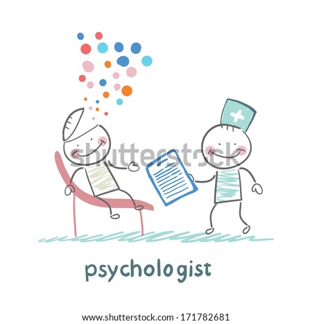 psychologist with a folder, and the patient's head exploded - stock photo