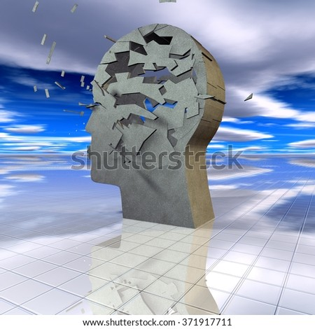 Psychology concept with face silhouette shattered. - stock photo