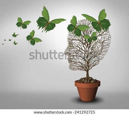 Psychology help and solutions to psychiatric problems and mental health as a learning concept with an empty tree and leaves shaped as butterflies coming to support and fill the void. - stock photo