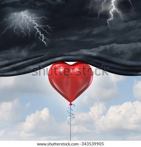 Psychology of human love or a happy romantic feeling as an antidepressant with a red heart shaped balloon lifting up and away a dark storm cloud background as a happiness metaphor for mood change. - stock photo