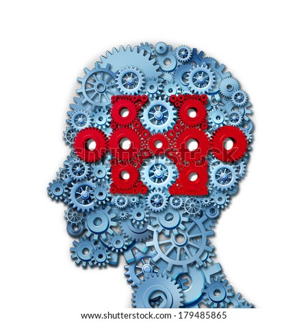 Psychology puzzle head concept with a human face in side view made of connected gears and cogs as a group of red cog wheels shaped as a jigsaw piece in a medical metaphor for cognitive intelligence. - stock photo