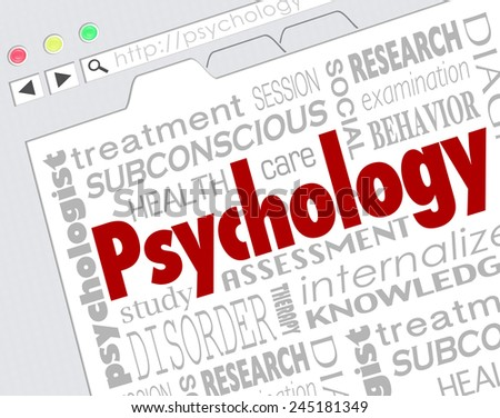 Psychology word on a website screen to illustrate online research for diagnosis or treatment of mental health condition, disease or disorder - stock photo
