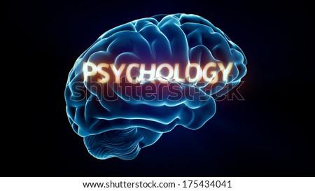 Psychology Xray Brain isolated on black background - stock photo
