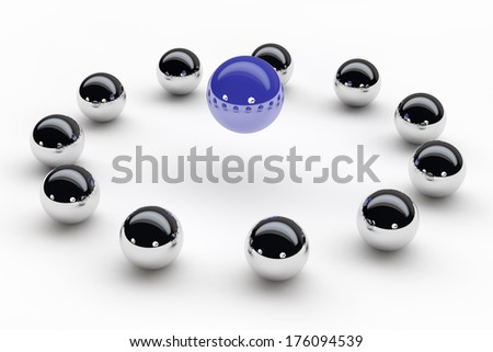 Psychotherapy and coaching concept with balls in a circle
