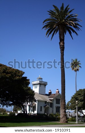 Pt. Fermin Lighthouse and palm three - stock photo