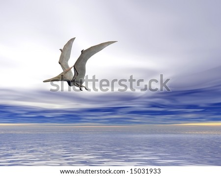 Pterodactyl or Pteranodon flying over the ocean