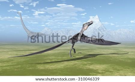 Pterosaur Dorygnathus and dinosaur Mamenchisaurus Computer generated 3D illustration - stock photo