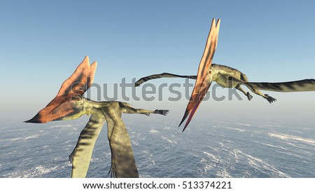 Pterosaur Thalassodromeus over the ocean Computer generated 3D illustration