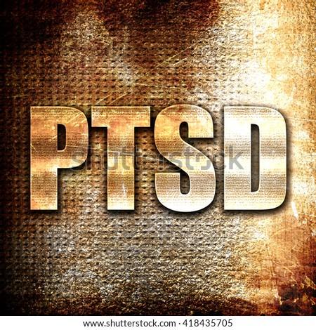 ptsd, rust writing on a grunge background - stock photo