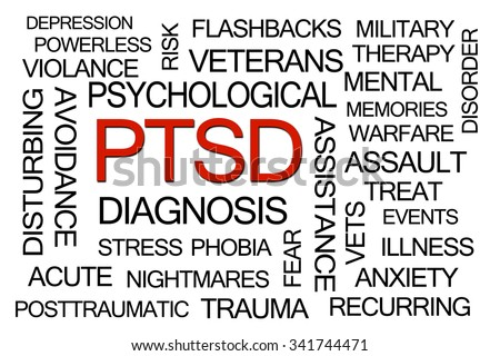 PTSD Word Cloud on White Background - stock photo