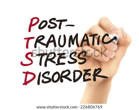 PTSD word written by 3d hand over white background - stock photo