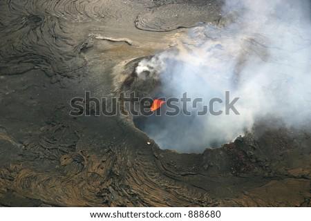 Pu'u'O'o Cone of Kilauea Volcano - Hawaii Volcanoes National Park on the Big Island of Hawaii. - stock photo